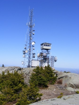 Mt. Kearsarge, Winslow & Rollins State Parks. Probably the prizewinner for number of communication dishes on a NH fire tower.