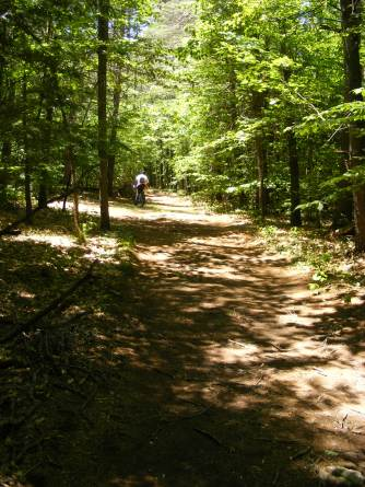 The trail's OK for bikes that can handle rough ground with lots of tree roots.