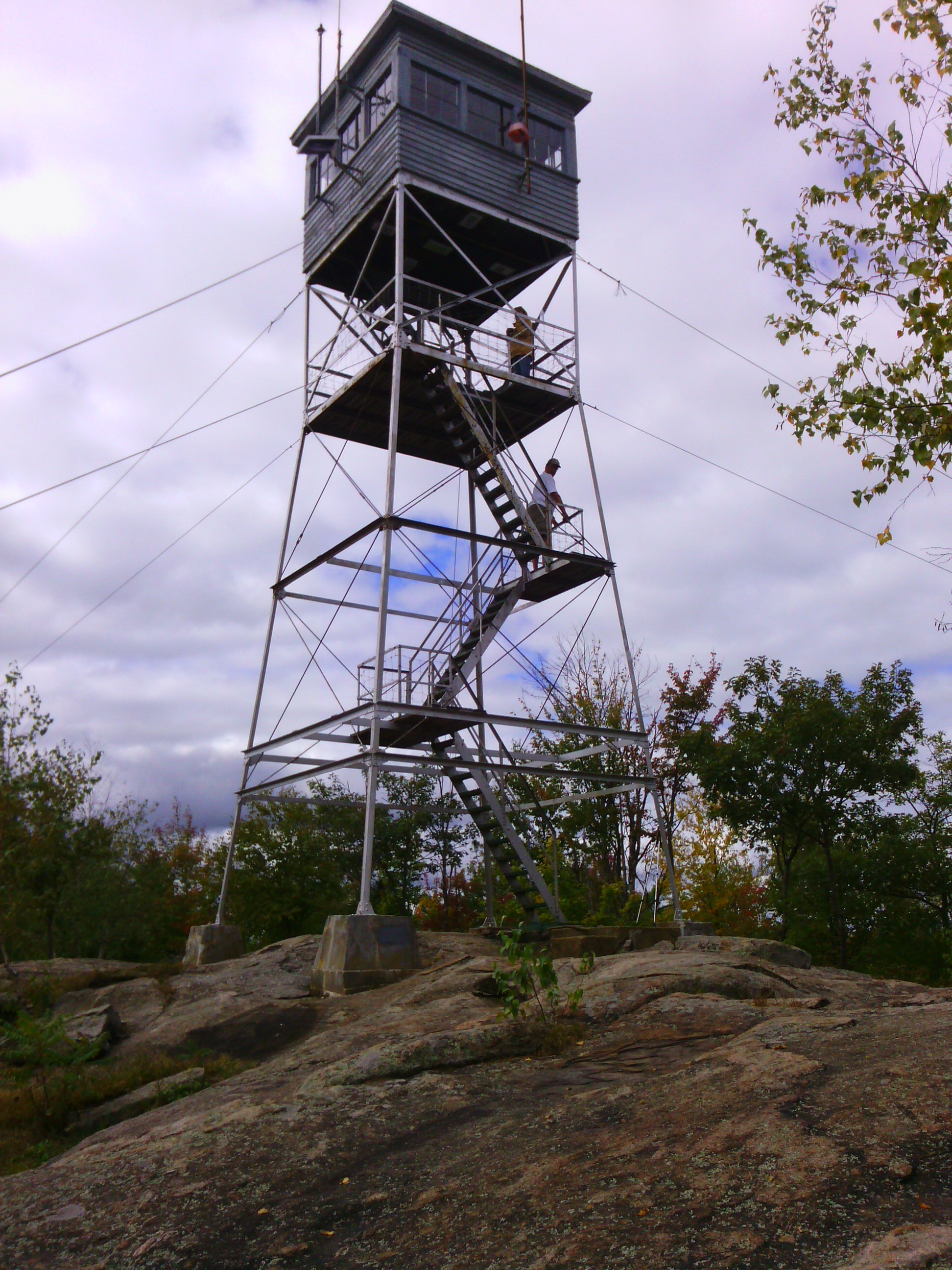 Pawtuckaway fire tower. Barely visible on the underside of the cab are charts describing the landmarks in each direction.