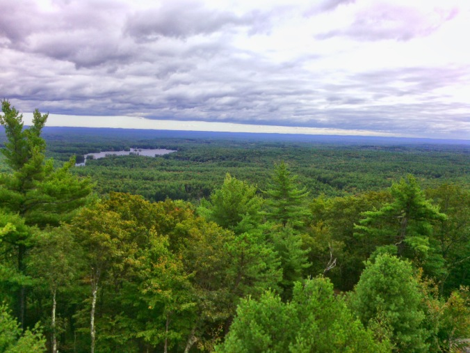 View from fire tower east to Pawtuckaway Lake and the Seacoast.