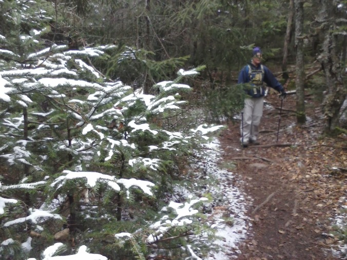 A dusting of late October snow near the summit of Dickey.