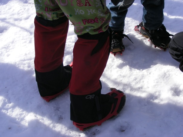 New Year's Day fashion: boots with traction aids.