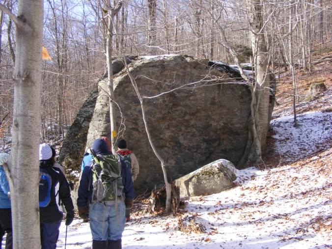 A glacial erratic along the way. Schist, not granite.