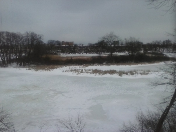 The cove at Mine Falls Park, awaiting the springtime return of the swans. Nashua Millyard in background.