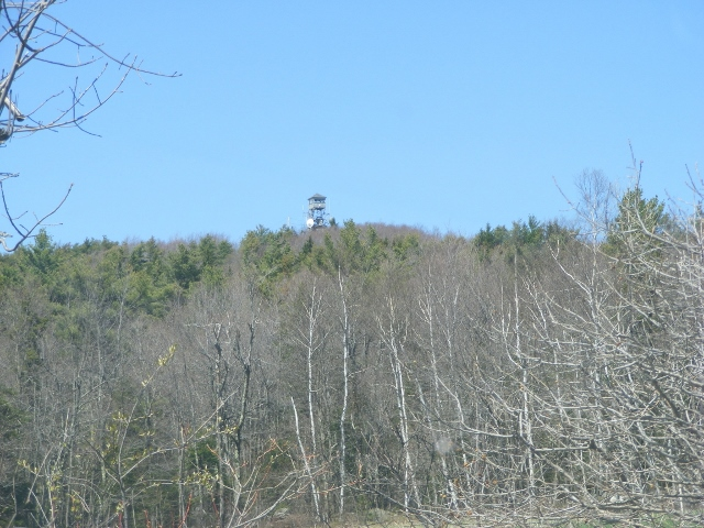 First peek at the tower, approaching from the east on Rt. 123.