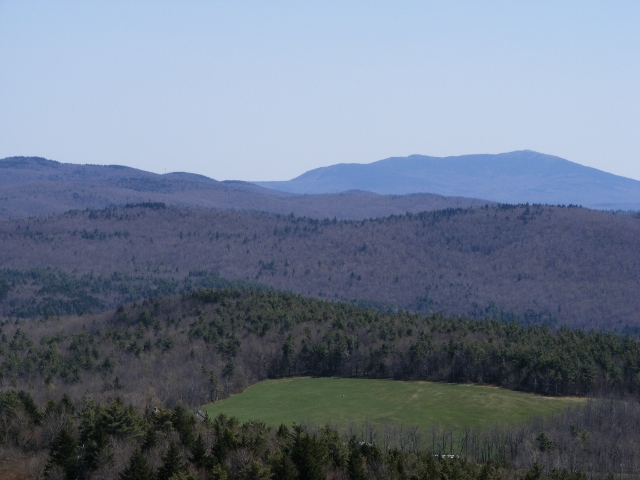 Mt. Monadnock in the distance, seen from the path to the Pitcher Mountain fire tower.