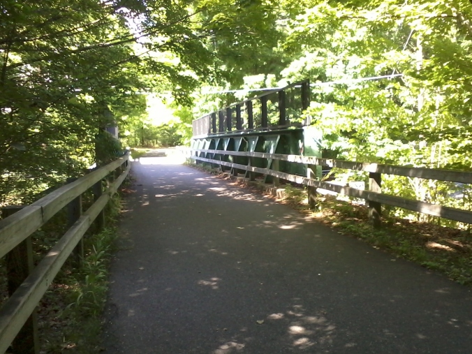 The trail crosses over Rt. 119 in Groton on a nicely rehabbed bridge.