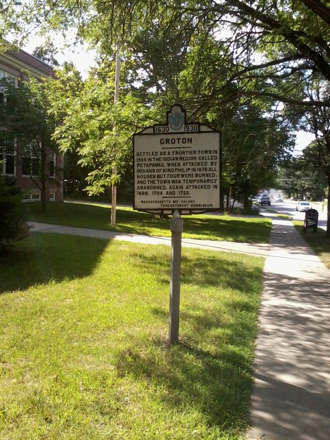 Marker on Main Street in Groton, a short distance from the trail.