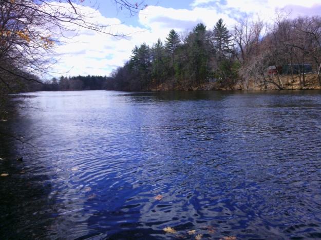 Nashua River in Pepperell, Massachusetts, April 2015, seen from rail trail