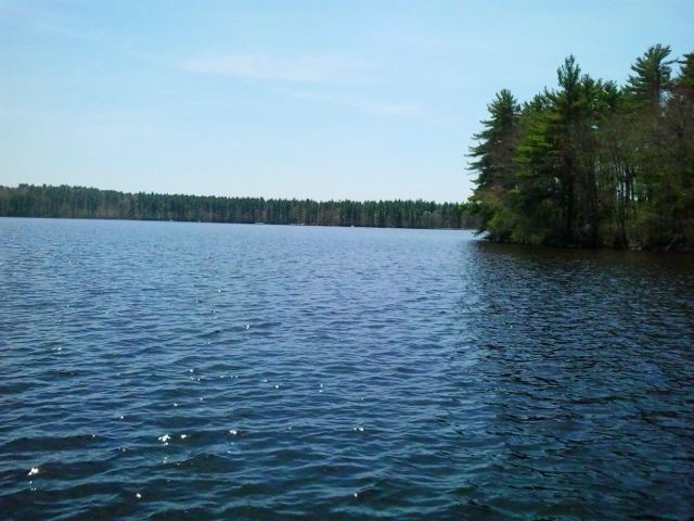 View of Lake Massabesic from boat launch just off Rockingham Rec Trail and NH Rt. 121.