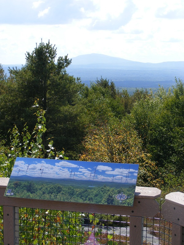 Mt. Monadnock from Gregg Trail overlook on Crotched Mountain, hazy August day