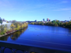 The Queen City: Manchester, New Hampshire, seen from the Hands Across the Merrimack bridge on the Piscataquog trail.