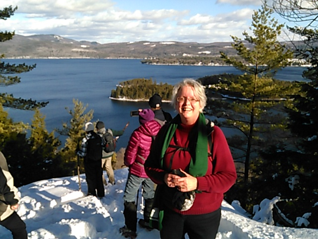 Ellen Kolb on New Hampshire First Day Hike 2017 overlooking Newfound Lake