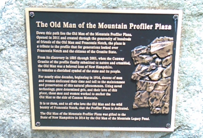 Old Man of the Mountain plaque