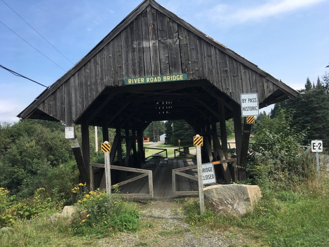 The old covered bridge on River Road has been bypassed, but visitors are welcome to take a break at the picnic table inside!