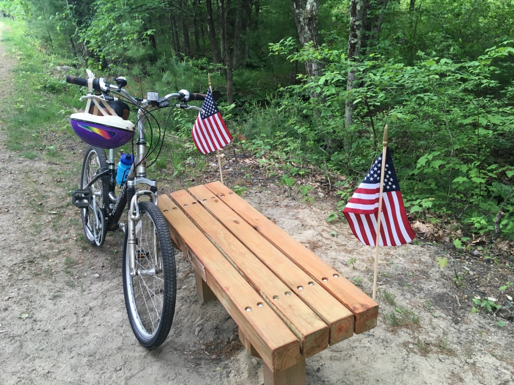 bench along Londonderry rail trail NH