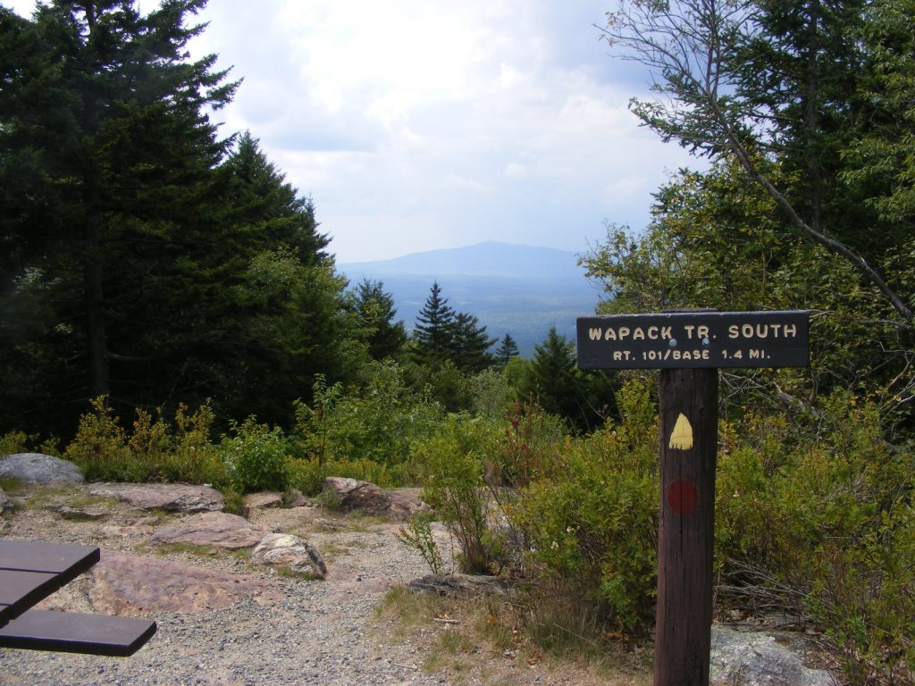 View of Mount Monadnock from Pack Monadnock with Wapack Trail sign