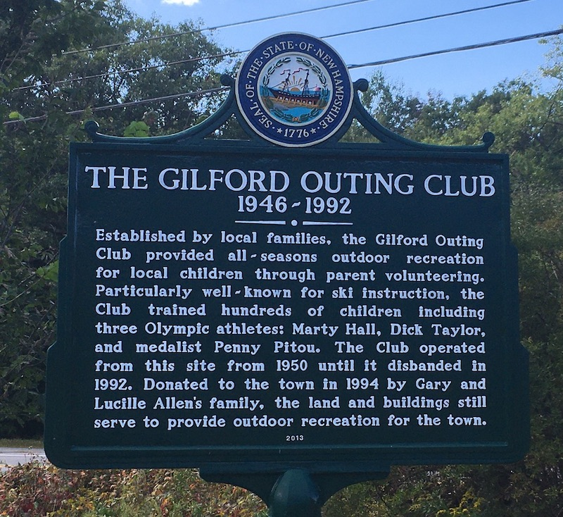 Gilford NH Outing Club historical marker. Photo by Ellen Kolb.