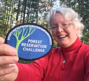 Forest Society patch held by Ellen Kolb of New Hampshire